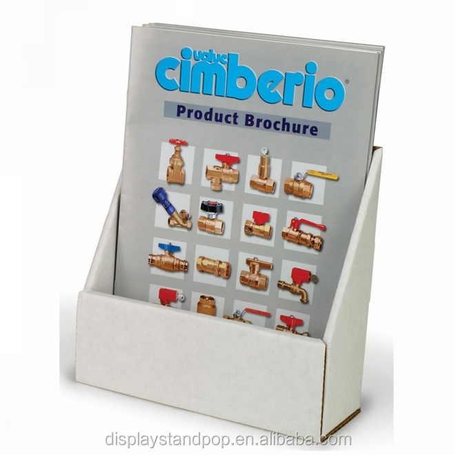Cardboard brochure leaflet flyer table display for shop paper display stand