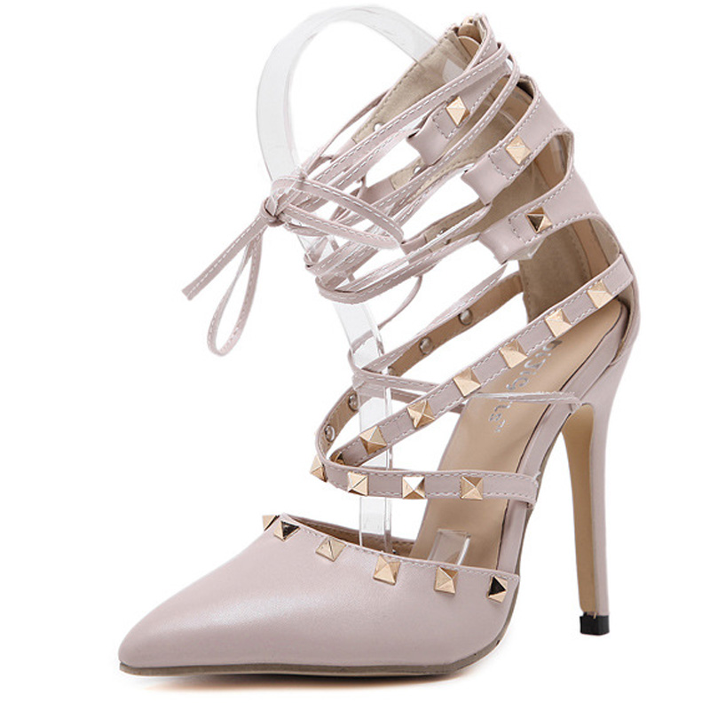 Classic fashion rivets foot ring with fine hollow high heels shoes