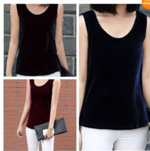 New Women Velvet Vests Tank tops Sleeveless slim summer shirts