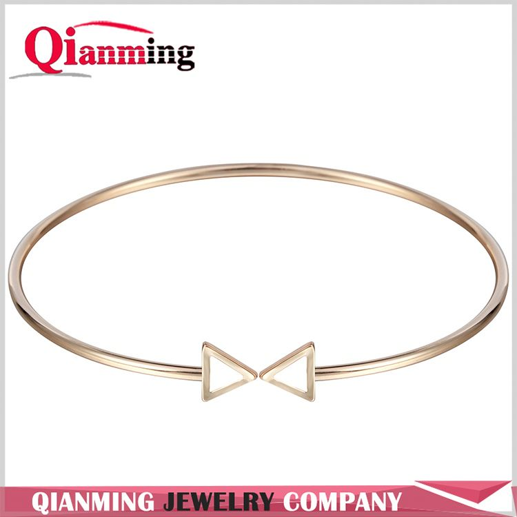 Gold Silver Plated Adjustable Bangle Double Arrow Triangle Geometry Cuff Bangle Bracelet
