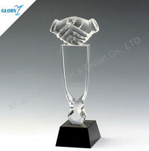 Blank Corporate Handshaking Crystal Company Trophy