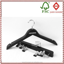 F6611-B quality customized black printed wood clothes hangers