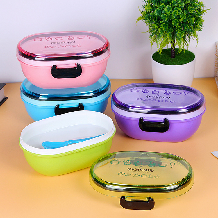 Originality Heat Preservation Double Deck Plastic Outdoors Rectangle Lunch Box