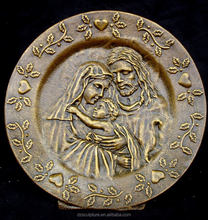 brass saint holy family relief sculpture for church wall decoration