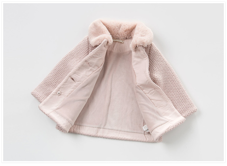 Winter girl children lapel lovely warm short coat China garment factory
