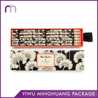 Wholesale Personal Logo White Black Color Flower Sliding Drawer Pencil Box Packaging