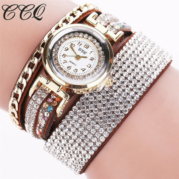 CCQ Fashion Leather Bracelet Watch Women Rhinestone Wrist Watch Relojes Mujer Luxury Women Quartz  Watch Gift C45