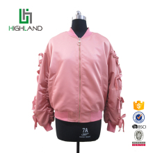 New style custom wholesale loose satin coat women bomber jacket