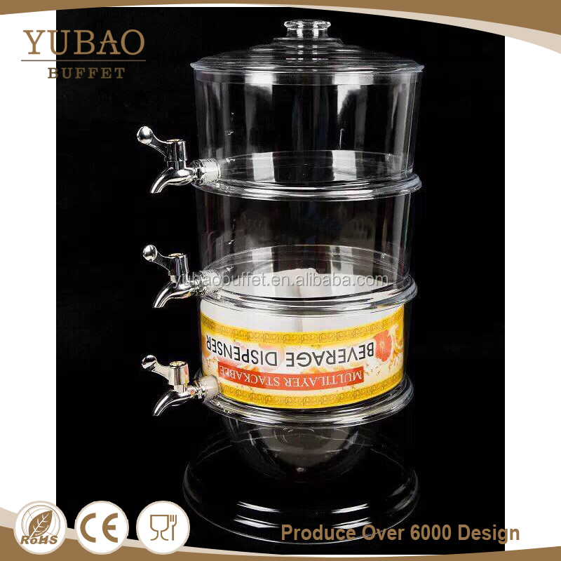 Yubao buffet new model automatic orange juicing machine , 3L arylic plastic tap layered drink juice dispenser