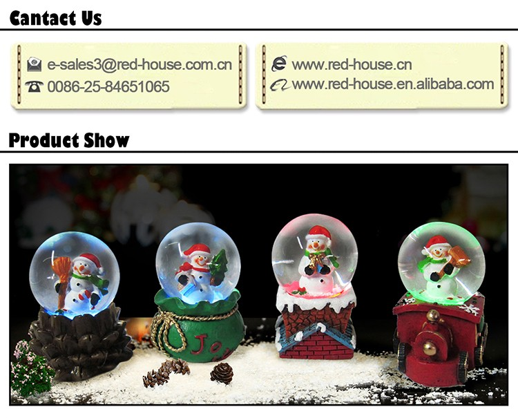 Cute Snowman Water Globe Holiday Crafts Snow Globe with LED Lights