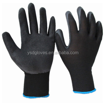 13Gauge Black Latex Foam Palm Coated Softtextile Working Glove for Construction