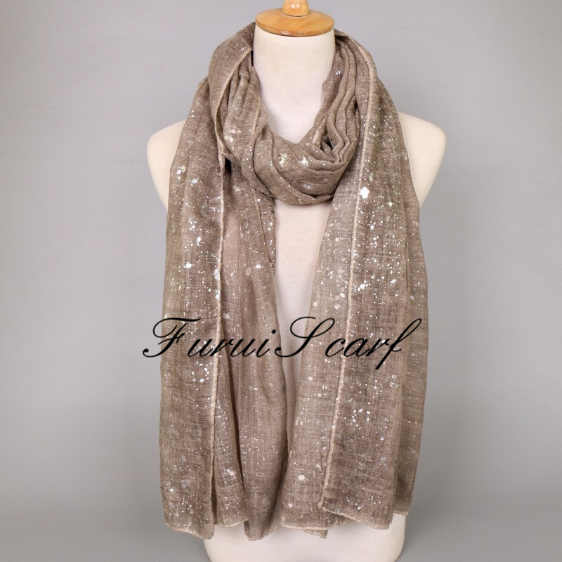 Shimmer Hijab For Muslim Women Tie Dye Scarf Long Size Glitter Cotton Scarves