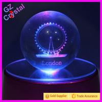 Laser Crystal Ball Decoration Craft With Led Light Base