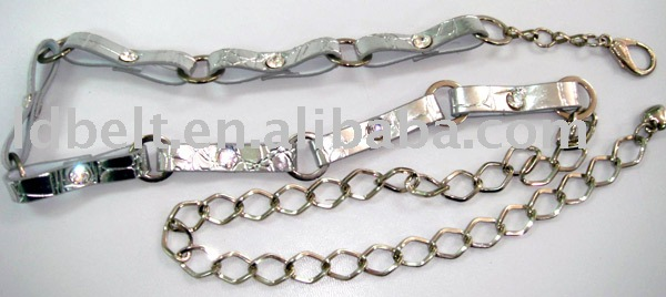 Fashion sliver PU chain belt