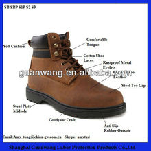 Brown Crazy Horse Leather Construction Steel Toe Cap Goodyear Safety Boots