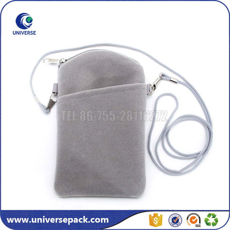 Grey zipper velvet pouch strap with outside pocket for mobile phone