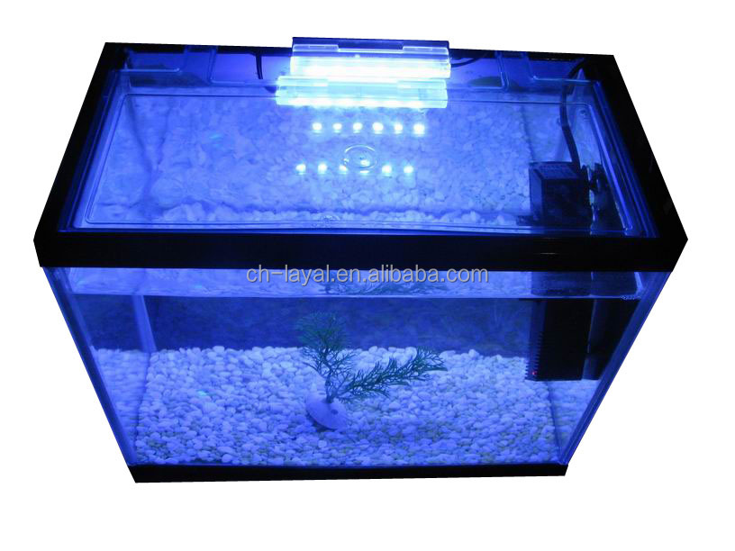 Factory New Simple Square Glass Fish Aquarium Tank Kit with underwater waterproof LED light