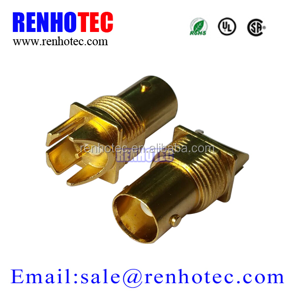 Gold Plated Edge Mount BNC Jack Connector RF Connectors