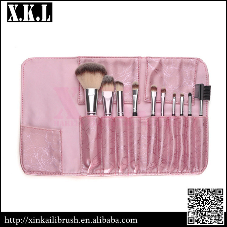 10 pcs new arrival wood handle nylon hair makeup brush set