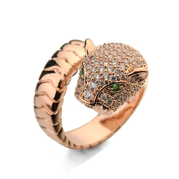 Newest Vogue Design Natural Pink Tourmaline 18K Gold plated Ring with lepoard head Shape open ring for women
