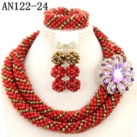 Latest design good price African Beads Jewelry Set nigeria beads jewelry 2016 purple beads