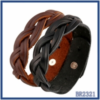 alibaba express direct wholesale classical design punk style low moq jewelry vintage types brown braided leather bracelet