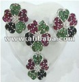 Sterling SIlver Jewelry Set with Ruby and Emeralds