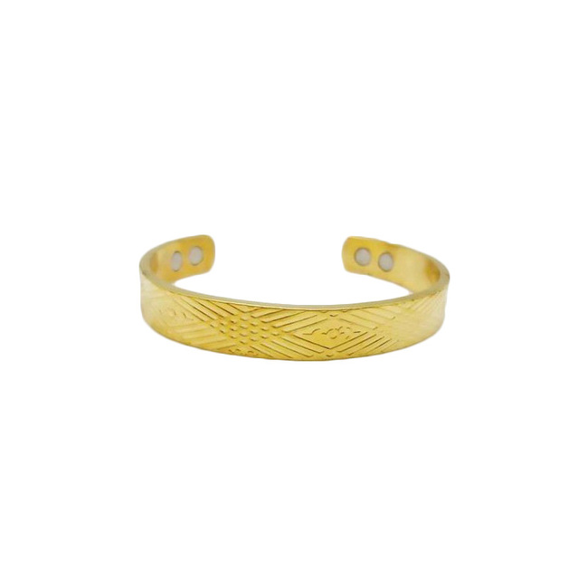 Gold plated Nice pattern 100% pure copper electromagnetic bracelet for a person suffering from rheum