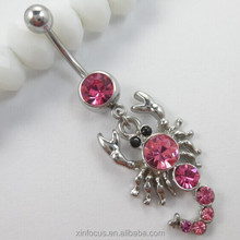Wholesale Magnetic Red Crystal Scorpion Shaped Navel Belly Button Rings Body Piercing Jewelry