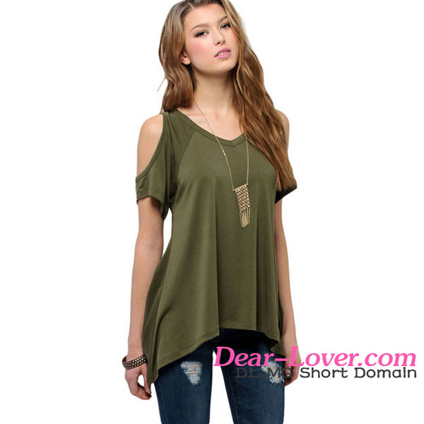 Army Green V Neck chiffon revealing blouses models for summer