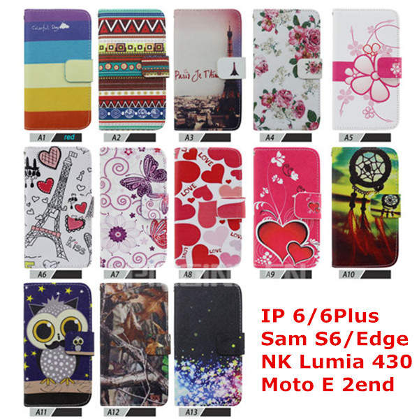 New Product Flower Leather Case for i Phone 6 Flip Case, for i Phone 6 Case with Card Slot