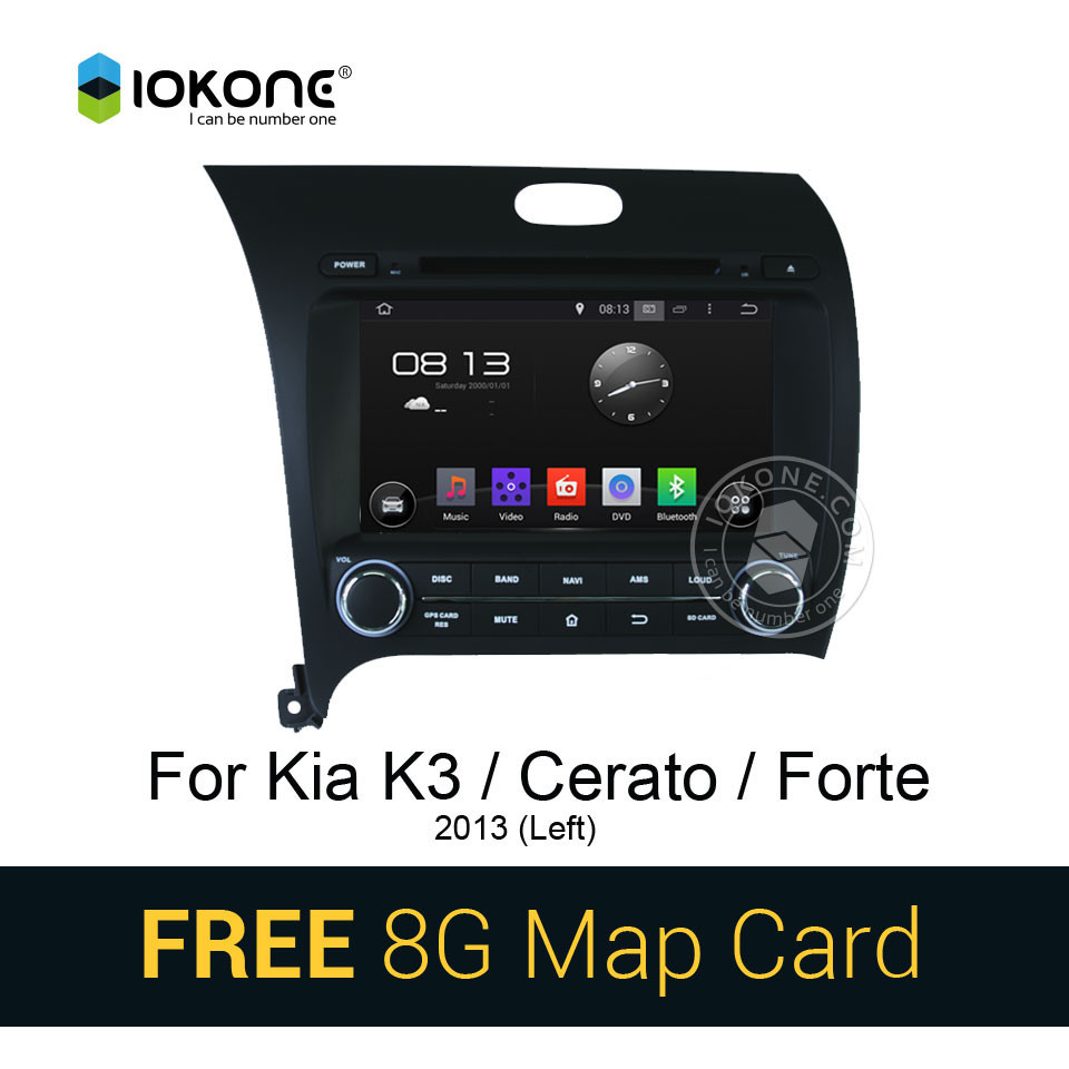 Iokone Android 4.4 3g wifi Car DVD Player with GPS navigation for KIA CERATO/K3/FORTE 2013
