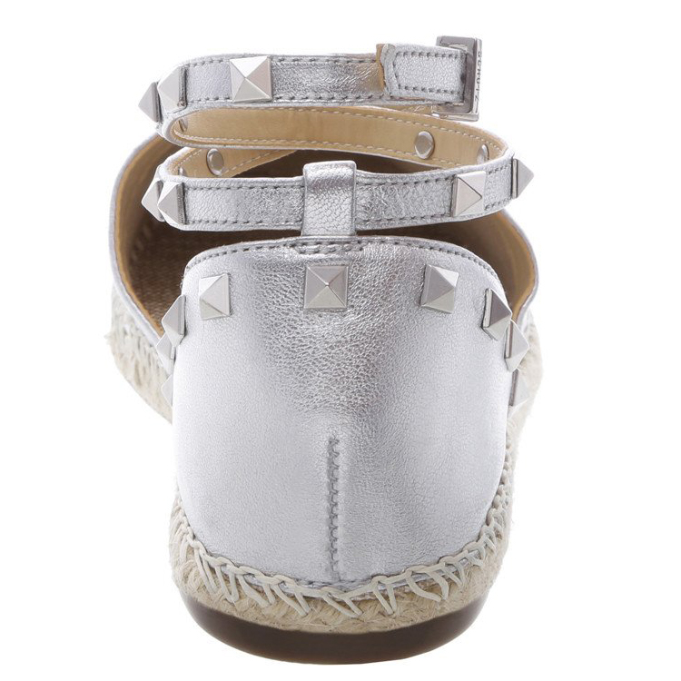 Ladies sandal shoes hemp rope sole design sliver buckle flat heel women sandal shoes