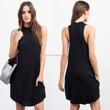 Wholesale Clothing Tall Women 95% Rayon 5% Spandex Flowy Tank Sleeves Mock Neck Daily Casual Dress
