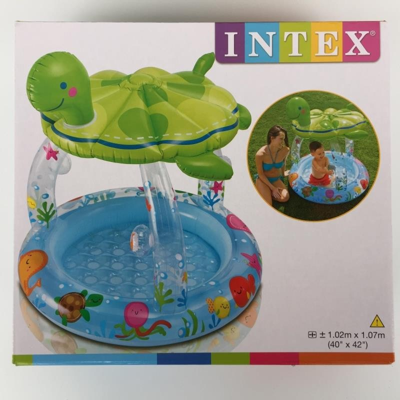 Intex Inflatable Sea Turtle Shade Baby Pool with Built-in Sunshade