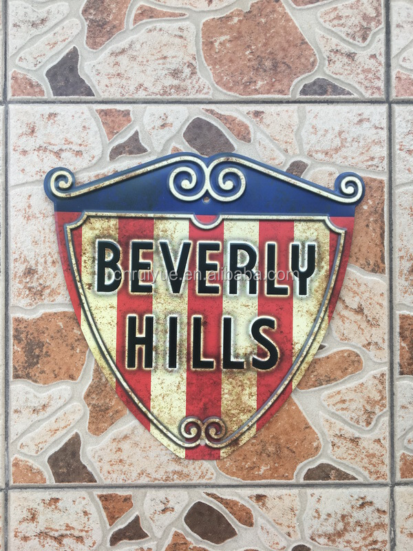 Cheap Wholesale OEM custom Shield/antique metal sign/vintage tin sign BEVERLY HILLS
