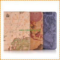 New World Map Pattern Three Fold Leather Stand Case for iPad Mini 4