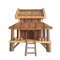 Non-toxic Natural pine wooden castle for hamster guinea pig rat mice rabbit wooden hedgehog house