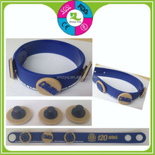 PVC promotional gifts band button snap bracelet soft rubber wristbands