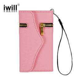 luxury wallet design zip flip leather phone case cover for iphone 5