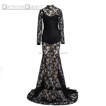 Latest Sexy Fashion Designs Women Gown Black Long Lace Evening Dress