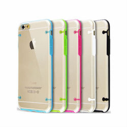 4 angle dot Transparent TPU PC clear soft Case Cover For iPhone 6S 6
