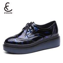 lace up patent leather oxford overseas shoes synthetic lining platform sole new model girls brogue shoes