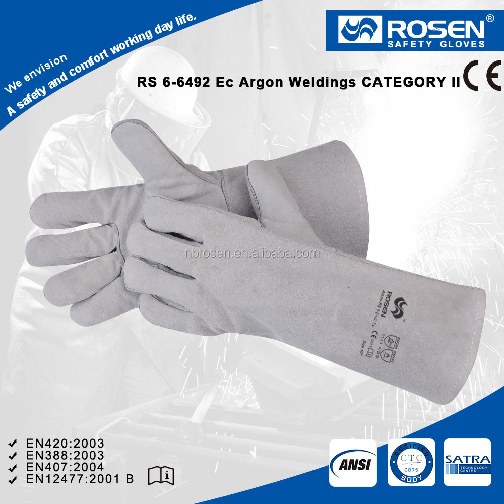 ROSEN SAFETY long sleeve reinforced strip leather welding working gloves manufacturer