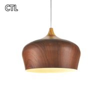 Wood grain brown pendant light aluminum chandelier light pendant lamp