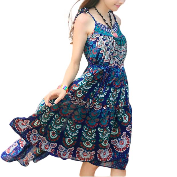 Beach Dresses 2015 summer new arrive fashion  spaghetti strap plus size loose women clothing print chiffon dress free ship 4469