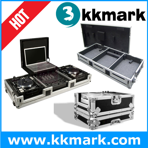 Hot sale dj turntable coffin with laptop tray, dj mixer case