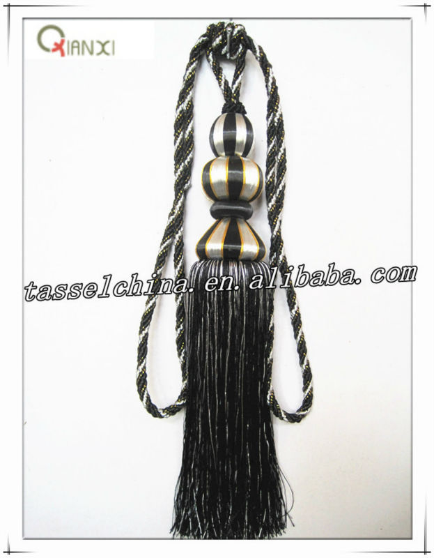 Fashion black curtain tassel tieback for home decor, wood tie back in western style