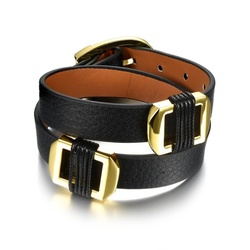 SJ Unisex Coordinates Jewelry SJPH1068 Retro Men&Women Leather Antiallergic Alloy Braided Buckle Wrap Bracelet with 2 Color