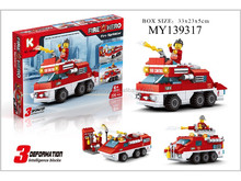 plastic educational fire fighting building brock set enlighten brick toys (220PCS)